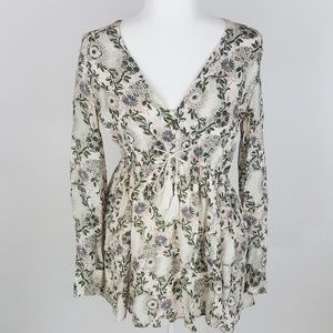 Free People Tassel Tie Floral Tunic Top Ivory S